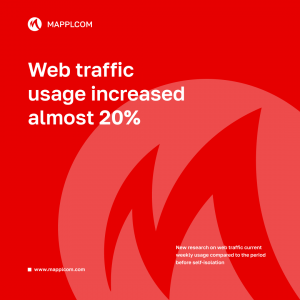 New research on web traffic usage shows almost 20% increase weekly compared to the period before self-isolation